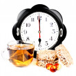 Hours at 6 pm teand diet snacks — Stock Photo #9066941