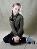 Portrait of a little school girl — Stock Photo