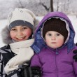 Little girls played with snow — Stock Photo #9174511