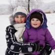 Little girls played with snow — Stock Photo #9174514