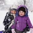 Little girls played with snow — Stock Photo #9174519