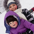 Little girls played with snow — Stock Photo #9174527