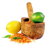 Mortar with a zest of orange, lemon and lime — Stock Photo