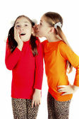 Girl friends played and speak the secrets — Stock Photo