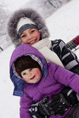 Little girls played with snow — Stok fotoğraf