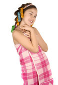 Girl after shower in curlers — Stock Photo