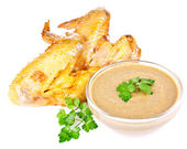 Smoked chicken wings with mustard — Stock Photo