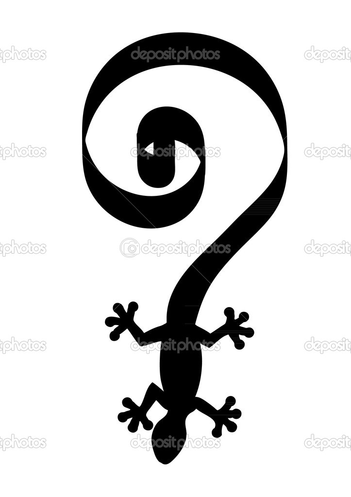 Black silhouette of lizard gecko with long tail formingbig  question mark, isolated on white background — Stock Vector #10394948