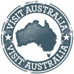 Vintage Visit Australia Stamp — Stock Vector #8086756