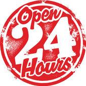 24 uur geopend. — Stockvector
