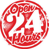 Open 24 Hours — Vettoriale Stock