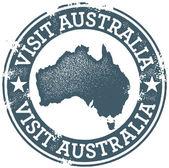 Vintage Visit Australia Stamp — Stock Vector