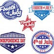 Fourth of July Independence Day Stamps — Stok Vektör
