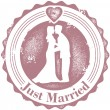 Vintage Just Married Wedding Stamp — Stock Vector #9756730