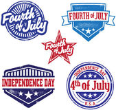 Fourth of July Independence Day Stamps — 图库矢量图片