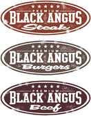 Black Angus Premium Beef Stamps — Stock Vector