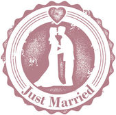 Vintage μόλις παντρευτεί γάμου σφραγίδα — Διανυσματικό Αρχείο