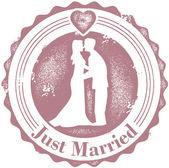 复古刚刚结婚的婚礼邮票 — 图库矢量图片