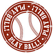 Play Ball Baseball Stamp — Stok Vektör