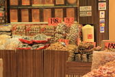 Spices, herbs and dried fish at asian market — Foto de Stock
