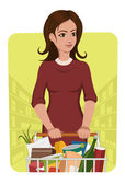 Woman with shooping cart — Stock Vector