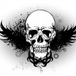 Royalty-Free Stock Vector Image: Grunge skull with wing