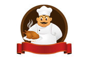 Chef with dish — Stock Vector