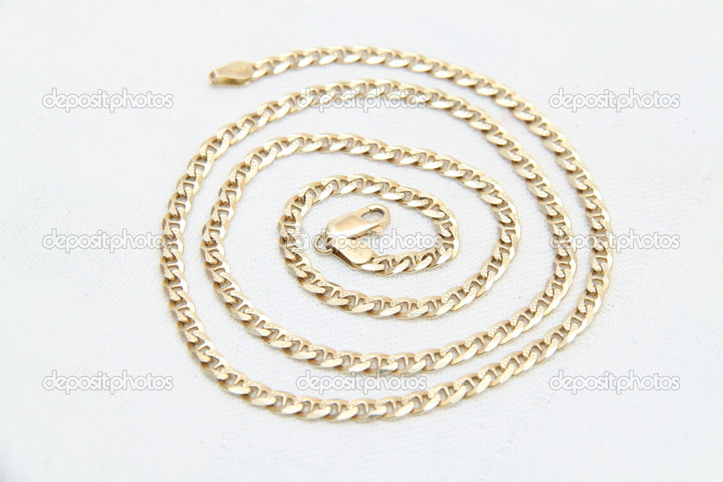 Golden chain on white background — Stock Photo #8524407
