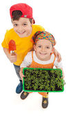 Kids growing their own food — Stock Photo