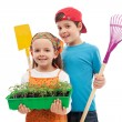 Kids with spring seedlings and gardening tools — Stock Photo