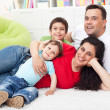 Happy family together on the floor — Stock Photo
