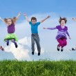 Happy spring jump - Stock Photo