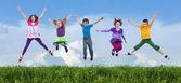 Happy spring jump — Stock Photo