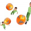 Boy playing soccer - wide angle shots — Stock Photo #10585088