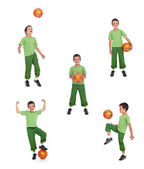 Boy with soccer ball collage — Stock Photo