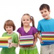 Smiling preschool and school kids with books — Stock Photo
