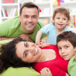 Happy family with two kids — Stock Photo