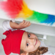 Stok fotoğraf: Little girl doing chores - dusting