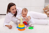 Playing with mom - baby girl at home — Foto Stock