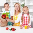 Stockfoto: Unpacking the groceries - preparing a meal