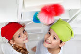 Kids dusting in their room — Stock Photo