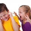 Kids quarrel - little girl shouting in anger — Stock Photo