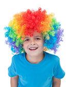 Happy clown boy - isolated portrait — Stock Photo
