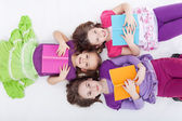 Girls reading afternoon — Stock Photo