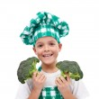 Happy chef with broccoli — Stock Photo