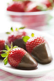 Chocolate dipped strawberries — Stock Photo