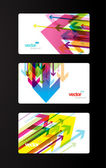Set of abstract colorful gift cards with arrows. — Stock Vector