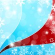 Christmas blue and red background with snow flakes. - Stock Vector
