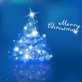 árvore de natal com luzes desfocadas em fundo azul. — Vetorial Stock