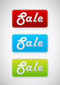 Set of 3 colored sale tags. — Stock Vector
